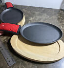 Tramontina Cast Iron Fajita Skillet w/wood base & potholder, 2-pack Brand New