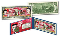 BETTY BOOP  * Happy Valentine's Day * Officially Licensed Colorized U.S. $2 Bill