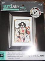 "ZWEIGART ARTISTE Mini Counted Cross Stitch Kit - I LOVE DOGS - 4.5"" x 6.5"""