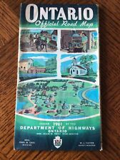 Vintage 1961 Ontario Canada Official Fold Out Road Map, Tourist Brochure VGC