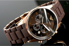 NEW GENUINE EMPORIO ARMANI AR5890 ROSE GOLD SILICONE MENS WATCH UK