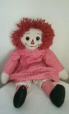 "Vtg 20"" Raggedy Ann 40's Cloth Doll Knickers Red Gingham Dress Hand Sewn Mouth"