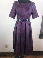 ModCloth Red Navy Plaid Fit & Flare Pleated Retro Style Belt Dress Size Small