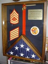 MILITARY FLAG MEDALS RIBBONS SHADOW BOX DISPLAY CASE - SOLID WOOD PCS GIFT