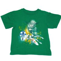 Disney Store Star Wars Yoda R2D2 Graphic Kids Unisex T-Shirt Size XS Green