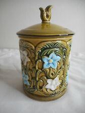 Vintage Lefton Blue White Floral Green Canister #6447 w/ lid