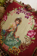1.3' Gorgeous Dual Color Fringes Needlepoint Pillow Lady In Floral Garland #3