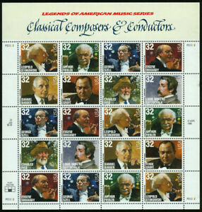 US, Scott #3158-65  3165a 32¢ Composers and Conductors sheet MNH-sealed Perfect!