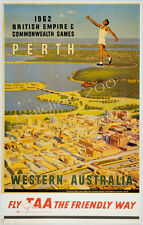 "AUSTRALIA HIGH QUALITY RETRO VINTAGE ""PERTH"" TRAVEL POSTER PRINT"