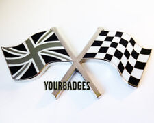 Enamel Chrome Union Jack FLAG & chequered flag crossing Car Badge Black & White