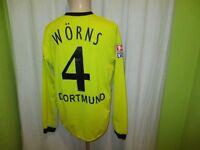 Borussia Dortmund gool Langarm Matchworn Trikot 2003/04 + Nr.4 Wörns Gr.L TOP