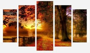 """Countryside Warm Sunset Trees Landscape 5 Split Panel Canvas Pictures 28x40"""""""