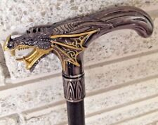 Cane Gothic Silver and Gold Medieval Chinese Dragon Head Walking Stick Larping
