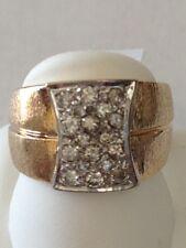 Diamond Ring Band 14k yellow  Gold wide euro shank .40 carat round  9.7 gram
