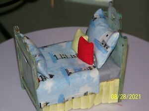 Handmade Miniature Doll House Furniture,  Bear Bed w/Lighthouse Theme