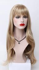 Excellent Reddish Blonde Pale Blonde stripe Mix Long Straight bangs Women Wig