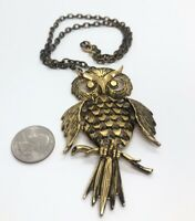 """Vintage Necklace 20"""" Owl Pendant Gold Tone Articulated Bird Animal"""