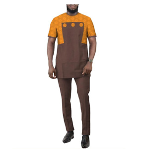 African Men Jacquard Short Sleeve Senator Design Top With Pants Set Y31911