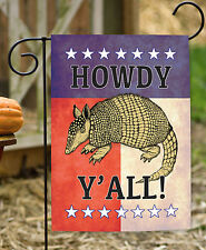NEW Toland - Howdy Y'all Armadillo - Southern Animal Texas Country Garden Flag