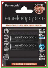 2 Eneloop Pro Panasonic Pile Batterie Ricaricabili STILO AA 2500/2550mAh 500 cic