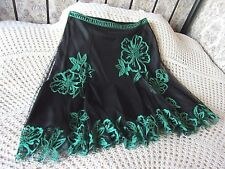 Skirt COAST 14 Black mesh over sheen Emerald green embroidered floral Beads