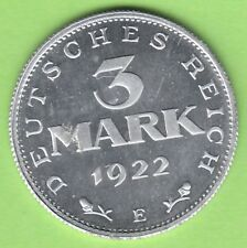 3 Mark 1922 E Verfassungstag Polierte Platte proof selten nswleipzig