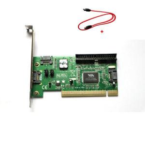 PCI 3 Port SATA +1 IDE Serial HDD ATA Card Adapter w/SATA Data Cable US Stock