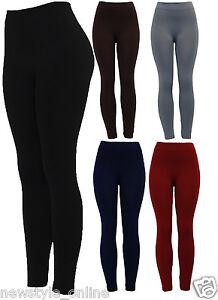 New Ladies Thick Black Navy Grey Winter Warm Fleece Brushed Lining Leggings 8-14