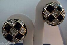 Signed Swan Swarovski Pave' & Black Enamal Earrings