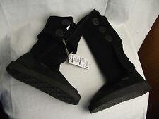 BNWT Older Girls Sz 1 Black Rivers Doghouse Long Knit Slipper Boots RRP $50