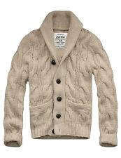 $158 Mens CALI HOLI Shawl Collar Cable Knit Cardigan Sweater Beige