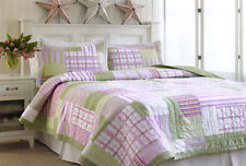 2 Pce EDGEMONT Patchwork Single COTTON Quilt / Coverlet / Comforter + Pillowcase
