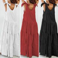 Women Ruffle Sleeveless Long Maxi Dress Ladies Summer Beach Party Kaftan Dress