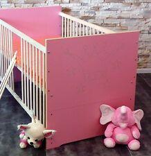 Lit à barreaux set complet bébé enfant 70x140 CONVERTIBLE ROSE BLANC gravure