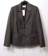 M&s Classic Brown Mix Wool Blend Tailored Blazer in Size 18 UK