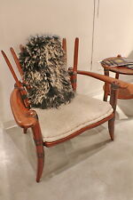 """35"""" H Arm chair white soft Italian leather exotic hard wood handmade spectacular"""