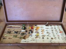Vintage fishing lures, flies, leaders, swivels and snaps in case.