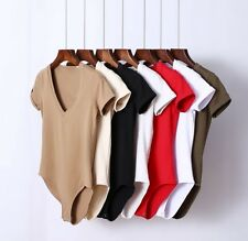 Women Sexy Slim Solid Color Deep V-neck Elastic Bottoming T-shirt Tee Bodysuit