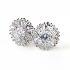 GORGEOUS 18K WHITE GOLD PLATED GENUINE CLEAR CZ & AUSTRIAN CRYSTAL STUD EARRINGS