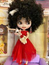 Customized Dressed Black Hair Blythe w /Teeth +Accessories w/ her Rabbit. Icy