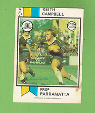 1974  PARRAMATTA EELS  SCANLENS RUGBY LEAGUE CARD #71  KEITH CAMPBELL