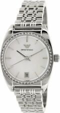 EMPORIO ARMANI SILVER TONE,S/STEEL,CRYSTAL BEZEL,MOTHER OF PEARL WATCH AR0379