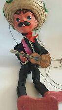 Antique Marionette Puppet Mexico Sombrero Guitar Mariachi Vintage Paper Mache