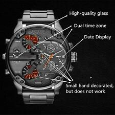 Men Watch Big Face Military Dual Time Zone Movement Wrist Watch New