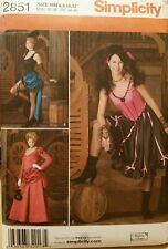 New 2851 Simplicity Saloon Girl Burlesque Costume Sewing Pattern Sz 6, 8, 10, 12