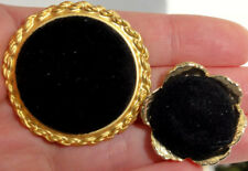 PAIR of Gold Colored METAL Dress/ CLOTHING BUTTONS ~ BLACK VELVET Fabric Center