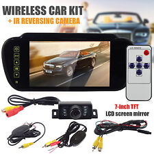 "Wireless 8 LED Parking Reverse Camera + 7"" LCD Mirror Monitor Car Rear View Kit"