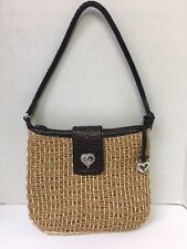 BRIGHTON Woven Jute Straw Brown Leather Shoulder Handbag