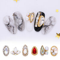 5Pcs 3D Nail Rhinestones Crystal Mixed Size Metal Gold 3D Nail Art Decorations