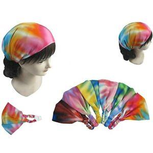 4pcs Tie Dye Headwrap Boho Wide Stretch Women Headband Turban Headwear Biker Lot